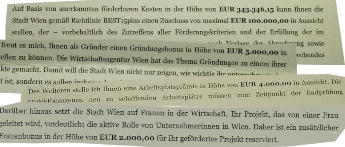 Euro 250000 Förderungen für drei Gründer